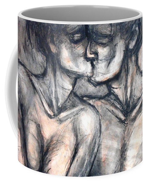 Original Coffee Mug featuring the painting Lovers - Kiss by Carmen Tyrrell