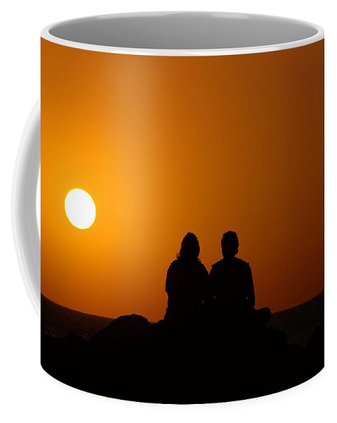 Sunset Coffee Mug featuring the photograph Lovers At Sunset by Susanne Van Hulst