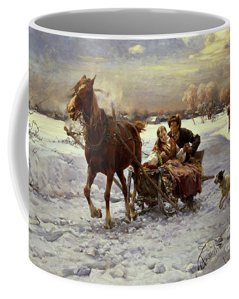 Couple Coffee Mug featuring the painting Lovers In A Sleigh by Alfred von Wierusz Kowalski