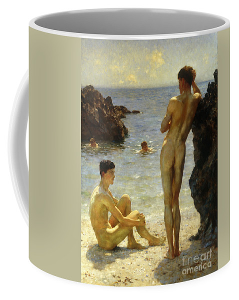 Nudes Coffee Mug featuring the painting Lovers of the Sun by Henry Scott Tuke