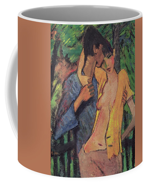 Lovers Coffee Mug featuring the pastel Lovers by Otto Muller