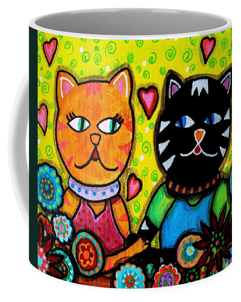 Poodle Coffee Mug featuring the painting Lovers by Pristine Cartera Turkus