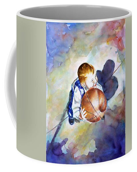 Watercolor Coffee Mug featuring the painting Loves The Game by Shannon Grissom