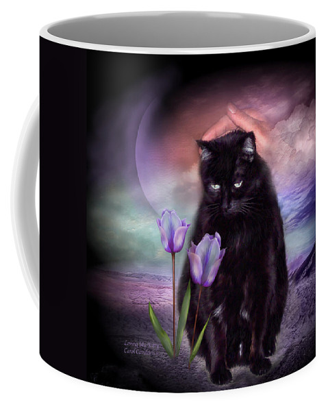 Cat Coffee Mug featuring the mixed media Loving My Kitty by Carol Cavalaris