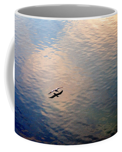 Pelican Coffee Mug featuring the photograph Low Flight by Mal Bray