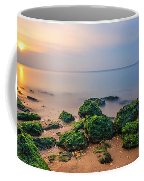 Low Tide Sunset Coffee Mug featuring the photograph Low Tide Panorama by Michael Ver Sprill