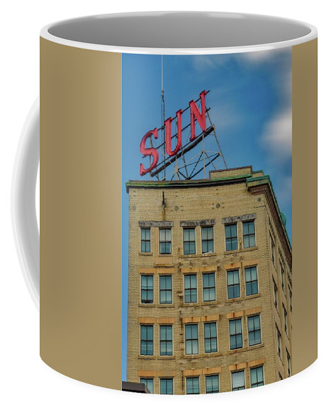 Lowell Coffee Mug featuring the photograph Lowell Sun Sign by Christina Lamar
