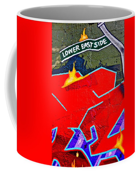 Graphic Coffee Mug featuring the painting Lower East Side Graffiti Art by Joan Reese