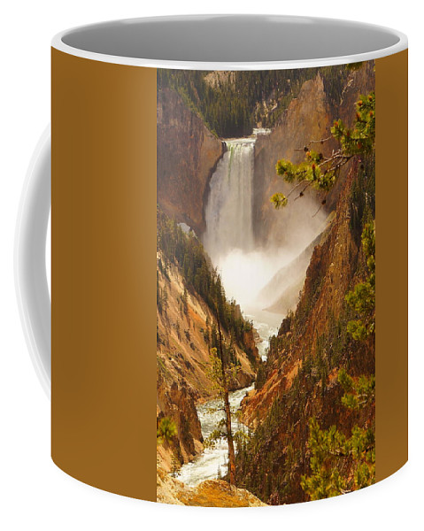 Artist Viewpoint Coffee Mug featuring the photograph Lower Falls From Artists Viewpoint by Beth Collins