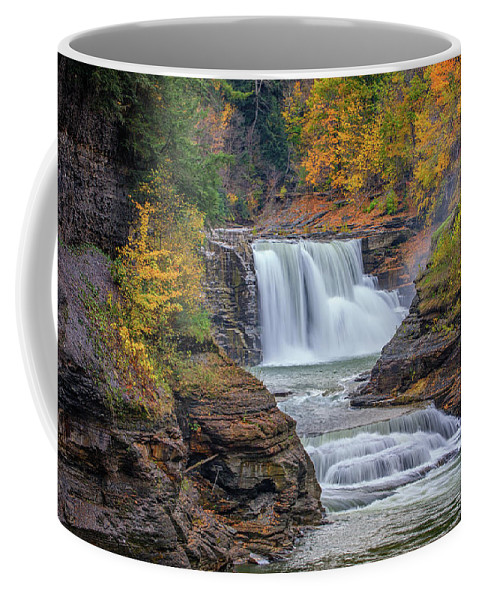 Autumn Coffee Mug featuring the photograph Lower Falls In Autumn by Rick Berk
