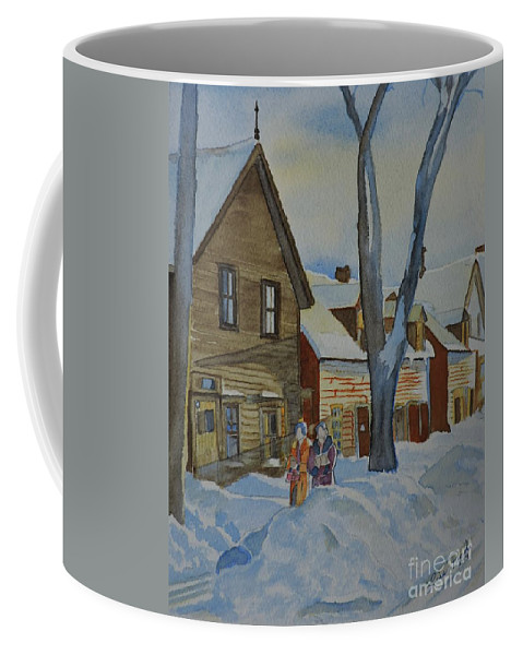 Lowertown Scene Coffee Mug featuring the painting Lowertown Scene No. 2 by Lise PICHE