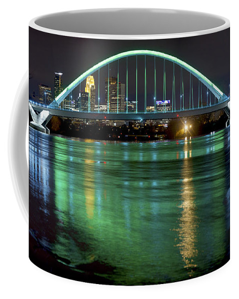 Reflection Coffee Mug featuring the photograph Lowry Bridge In St. Patrick's Day Green by Craig Voth