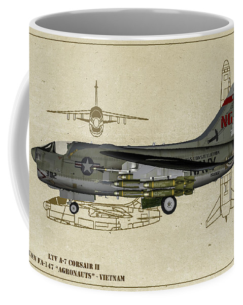 Attack Coffee Mug featuring the digital art Ltv A-7 Corsair II - Profile Art by Tommy Anderson