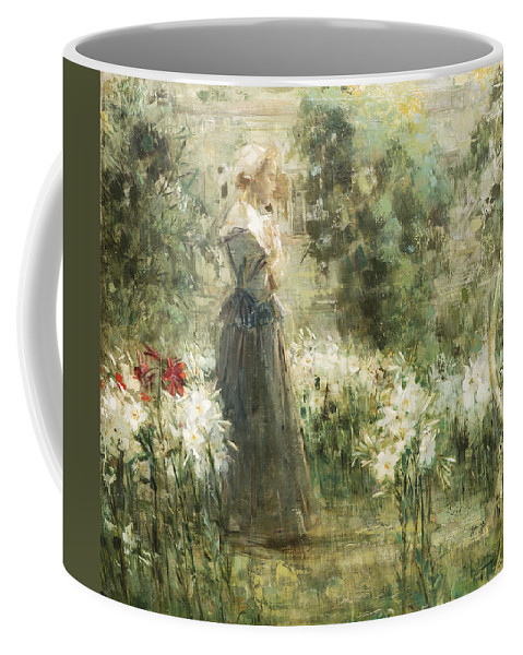 Girl Coffee Mug featuring the painting Luca Postiglione Napoli 1876 - 1936 The White Fleurs-de-lis by Luca Postiglione Napoli