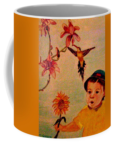 France Coffee Mug featuring the painting Lucas Le Petit Tournesol by Rusty Gladdish