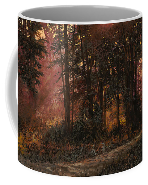 Wood Coffee Mug featuring the painting Luci Nel Bosco by Guido Borelli