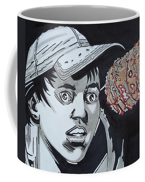The Coffee Mug featuring the drawing Lucille Picks Glenn by Oscar Rodriguez III