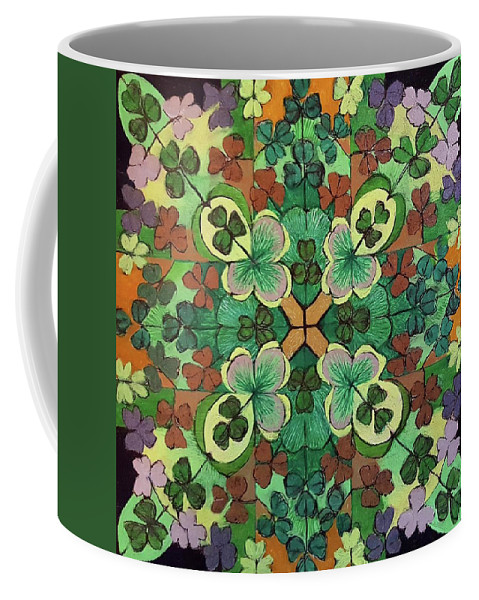 Luck Coffee Mug featuring the drawing Lucky Day Mandala by Ethel Mann