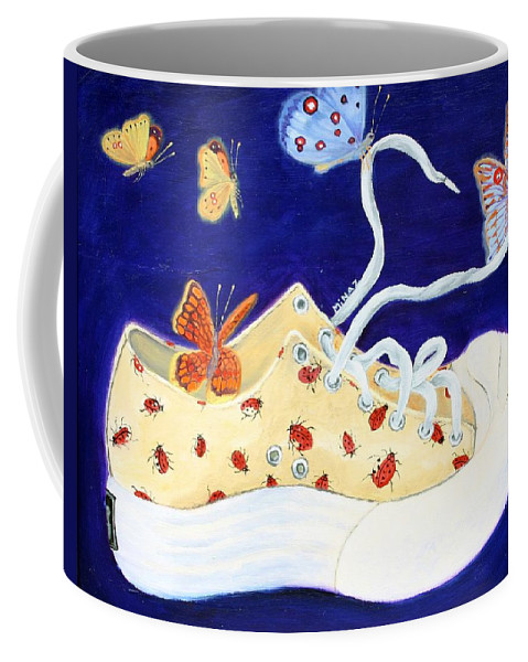 Running Shoes Coffee Mug featuring the painting Lucky Lady Bug Shoe by Minaz Jantz