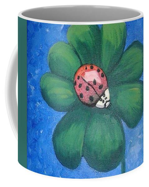 Ladybug Coffee Mug featuring the painting Lucky Ladybug on 4-Leaf Clover by Monica Resinger