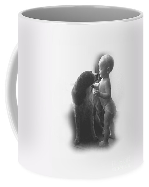 Lucy Coffee Mug featuring the photograph Lucy Kisses In Black And White by Sheri Lauren