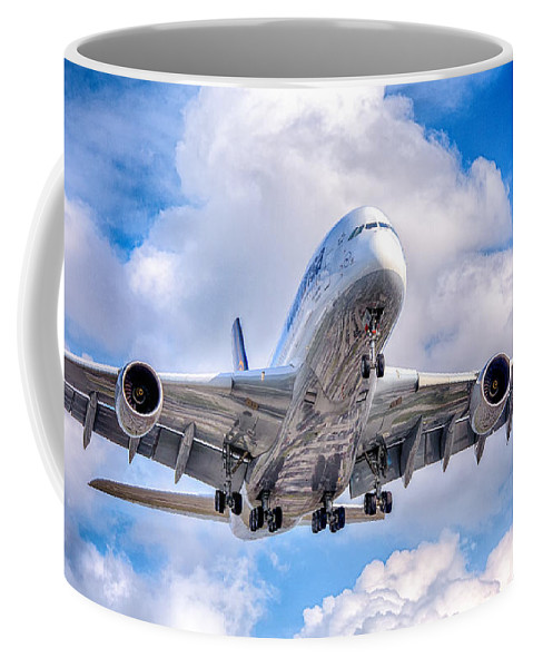 Airbus A380 Coffee Mug featuring the photograph Lufthansa Airbus A380 In Hdr by Rene Triay Photography