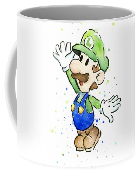 Luigi Coffee Mug featuring the painting Luigi Watercolor by Olga Shvartsur