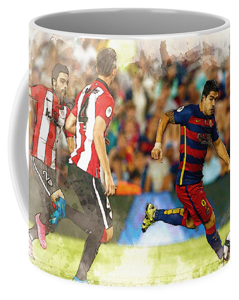 Home Art & Collectibles Coffee Mug featuring the digital art Luis Suarez Takes The Ball Past Athletic Bilbao's Eneko Boveda A by Don Kuing