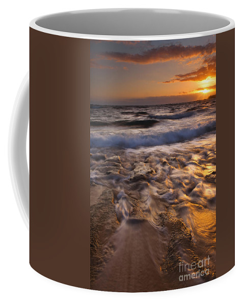 Lumaha'i Beach Coffee Mug featuring the photograph Lumaha'i Dawn by Mike Dawson