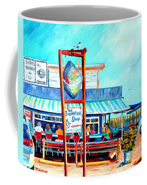 Clam Bar Coffee Mug featuring the painting Lunch at the Clam Bar by Phyllis London