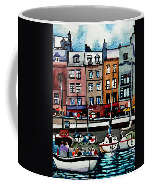 Boat Coffee Mug featuring the painting Lunch At The Harbor by Elizabeth Robinette Tyndall