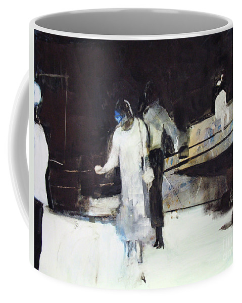 Downtown People Coffee Mug featuring the painting Lunch Break 2 by Pat Kochan