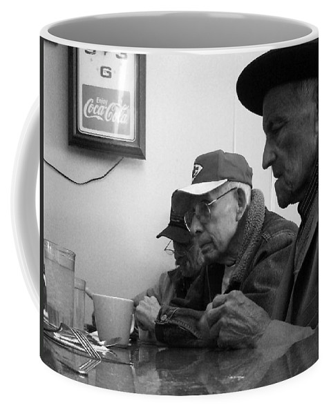 Diner Coffee Mug featuring the photograph Lunch Counter Boys - Black And White by Tim Nyberg