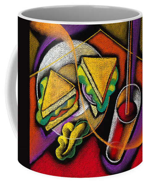 Bowl Close Up Color Image Concept Convenience Dinner Food And Drink Fork Grape Hamburger Illustration Illustration And Painting Lunch Macaroni Macaroni And Cheese Nobody Sandwich Square Image Still Life Variety Assortment Bread Close-up Color Colour Cutlery Drawing Food Fruit Ground Beef Meal Mince Pasta Square Still-life Abstract Painting Decorative Art Coffee Mug featuring the painting Lunch by Leon Zernitsky