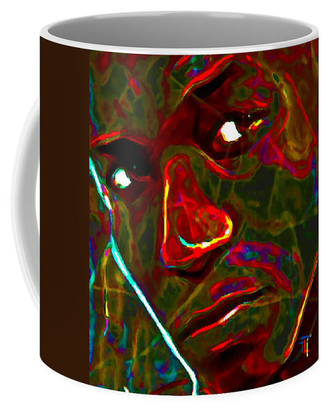 Abstract Art Coffee Mug featuring the painting Lupe Fiasco by Fli Art
