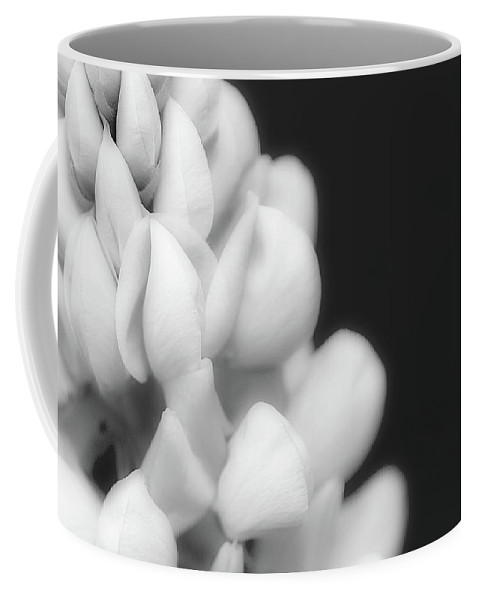 Black And White Coffee Mug featuring the photograph Lupine In Black And White by Lisa Knechtel