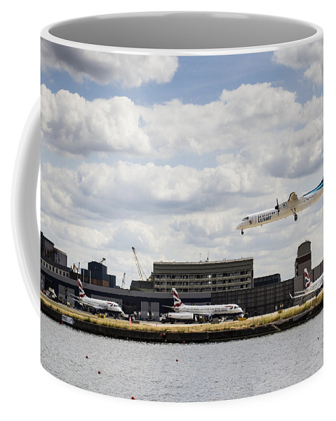 Lux Air Coffee Mug featuring the photograph Lux Air London City Airport by David Pyatt