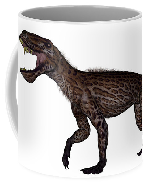 Dinosaur Coffee Mug featuring the digital art Lycaenops Dinosaur Roaring, White by Elena Duvernay
