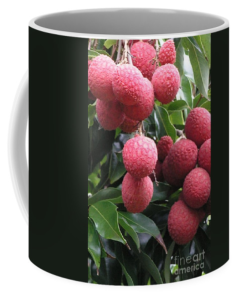 Red Coffee Mug featuring the photograph Lychee by Mary Deal