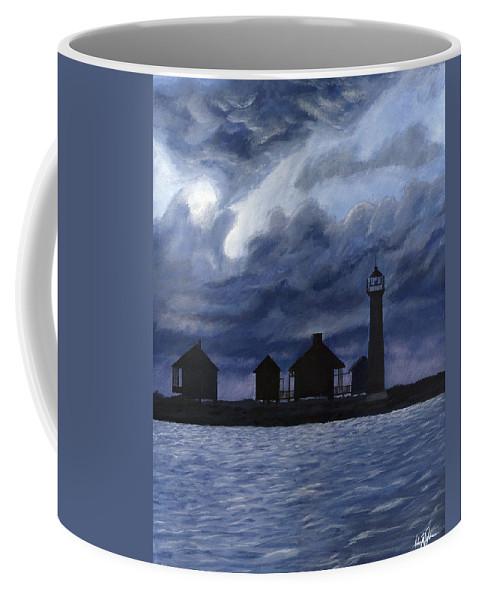 Landscape Coffee Mug featuring the painting Lydia Ann Lighthouse by Adam Johnson