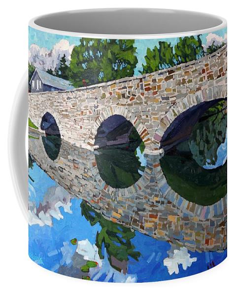 Lyndhurst Coffee Mug featuring the painting Lyndhurst Bridge by Phil Chadwick