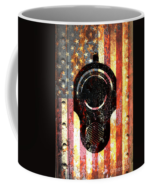 M1911 Colt 45 On Rusted American Flag Coffee Mug For Sale By M L C