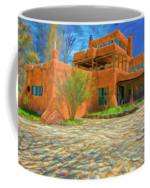 Mabel Dodge Sterne Coffee Mug featuring the digital art Mabel Dodge Luhan House As Oil by Charles Muhle