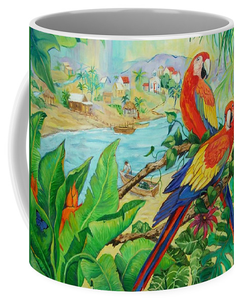 Birds Coffee Mug featuring the painting Macaws by Dianna Willman