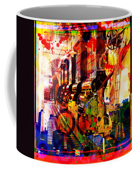 Digital Photographic Vector Montage Coffee Mug featuring the painting Machine Age-1 by Gary Grayson