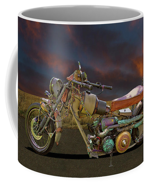 Hand Coffee Mug featuring the photograph Mad Max Creater Motorcycle by Nick Gray