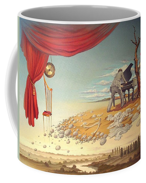 Art Oil Canvas Surreal Surrealism Symbolism Conceptual Fantastic Piano Desert Pianist Island Sand Courtain Chair Coffee Mug featuring the painting Mad Regal by Gyuri Lohmuller