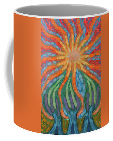 Colour Coffee Mug featuring the painting Mad Sun by Wojtek Kowalski