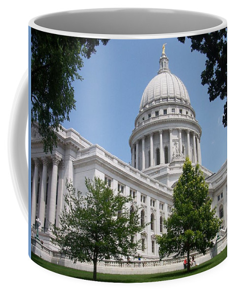 Madison Coffee Mug featuring the photograph Madison Wi State Capitol by Anita Burgermeister