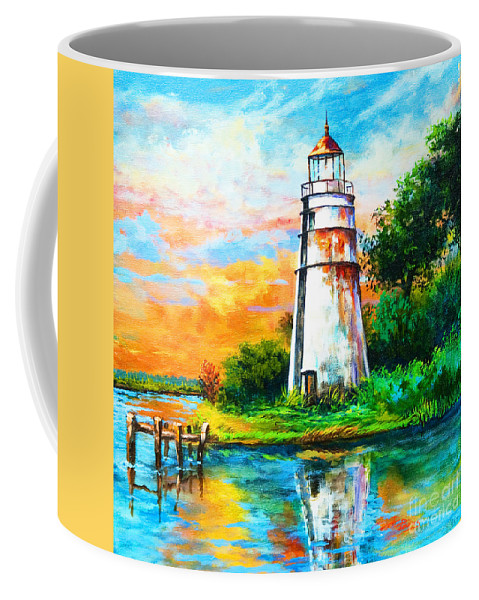 Lighthouse Coffee Mug featuring the painting Madisonville Sunset by Dianne Parks